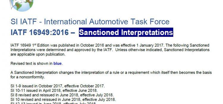 IATF16949標準最新更新發布(SI 16-18),2020年1月生效。